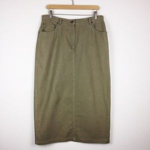 Vintage linen midi pencil skirt khaki army green